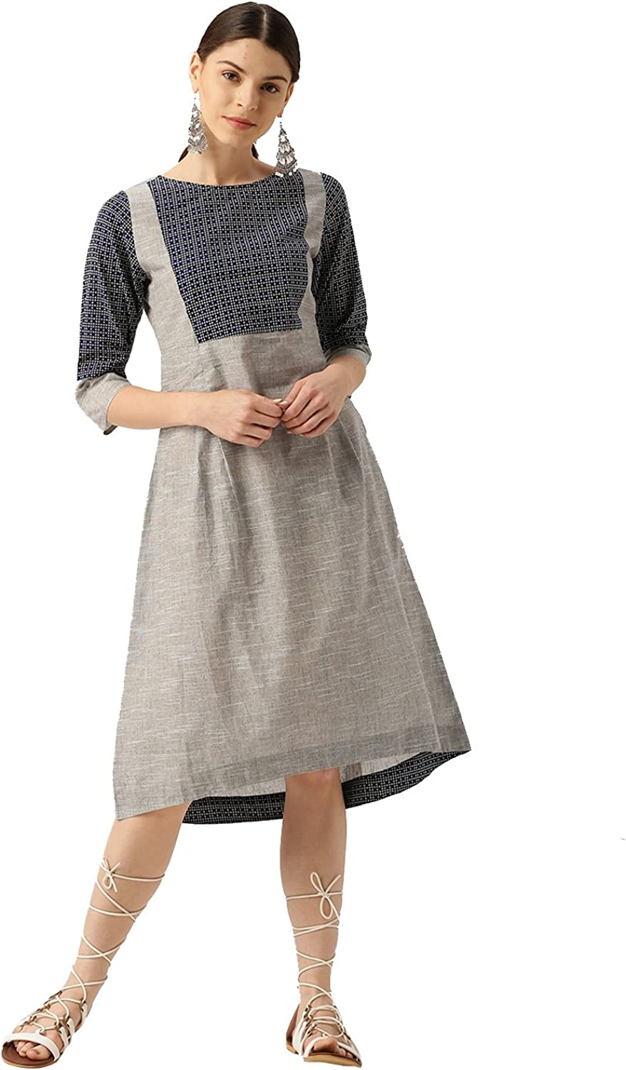 Desi Fusion Women Casual Tunic Long Maxi ALine Dress (Grey)