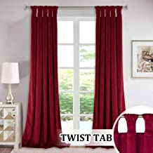 StangH Red Backdrops Curtains Velvet - Modern Twist Tab Design Extra Long Light Reducing Window Treatment Set Heavy Duty Keep Warm Out Privacy Panel Drapes for Bedroom, W52 x L108-inch, 2 Panels
