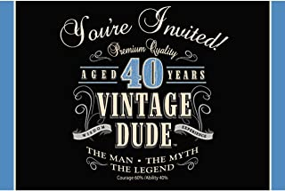 Creative Converting 8-Count Party Invitations, Vintage Dude 40th Birthday - 891467