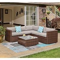Deals on COSIEST 4-piece Outdoor Wicker Patio Sofa Set w/Cushions