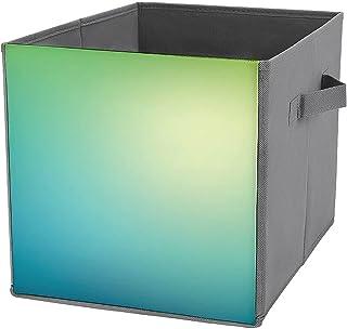 Boîtes de rangement cubiques pliables - En maille - Style abstrait - Vert turquoise et jaune - Avec poignées de transport