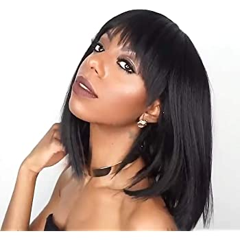 Amazon Com Wigs For Women Black Color Short Bob Synthetic Full Hair Wig Heat Resistant Short Straight Black Wig For Women Beauty