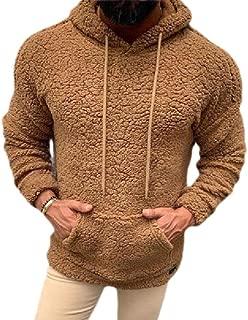 Men's Pullover Casual Sweatshirt Double Drawstring Hoodies Fuzzy Fleece Outwear