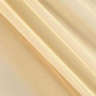Ben Textiles 120'' Sheer Voile Fabric, Champagne, Fabric by the yard