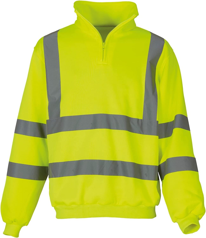 Safety Work Wear Jumper Warm Fleece Yoko Hi-Vis Men/'s 1//4 Zip Sweatshirt HVK06
