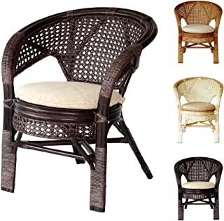 Pelangi Handmade Rattan Dining Wicker Chair w/cushion, Dark Brown