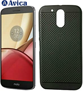 AVICA Dotted Designed Soft Rubberised Flexible Back Case Cover for Motorola Moto M - Black
