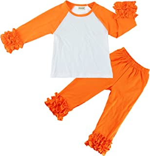 Wennikids Children Baby Cotton Icing Ruffle Shirt Ruffle Sleeved Raglan Pants Set
