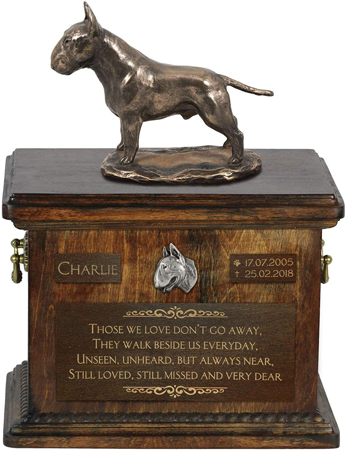 Bull Terrier, Urn for Dog Ashes Memorial with Statue, Pet's Name and Quote  ArtDog Personalized