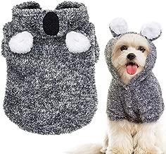 Beirui Warm Dog Pajamas Winter Coats for Small Dogs - Cute Koala Fleece Dog Hoodies - Pet Jackets Clothes Small Medium Dogs Teddy Poodle Chihuahua, Yorkshire,Grey M,L,XL