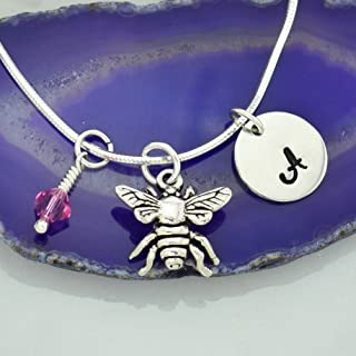 Personalized Bee Insect Pendant Custom Pendant Hand Stamped Initial Letter Heart Crystal Birthstone Charm Chain 925 Sterling Silver Customizable Delicate Tiny Necklace Gift
