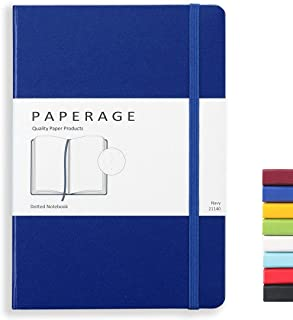 Paperage Dotted Journal Bullet Notebook, Hard Cover, Medium 5.7 x 8 inches, 100 gsm Thick Paper (Navy, Dotted)