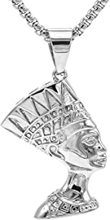 Lax Jewelry Womens Mens Stainless Steel Pendant Necklace, Lion Head, Egypt Queen Nefertiti, Egyptian Eye of Horus in Pyramid, 24 inch Chain