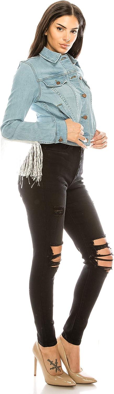 Aphrodite Denim Jacket for Women - Casual Fashion Stretch Button Down Stretch Trucker Jean Outwear