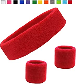 Kenz Laurenz Sweatband Set Cotton Sports Headband Terry Cloth Wristband Moisture Wicking Sweat Absorbing Head Band Athletic Exercise Basketball Wrist Sweatbands and Headbands