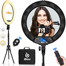 18'' LED Ring Light with Stand, Wireless Remote Control LCD Screen with Phone Holders & Three Hot Shoe Ports, 3200K-5500K ...