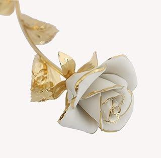 Rosa Dolly En Porcelana Sobre Un Tallo De Metal Dorado Hecho A Mano En Italia Por Unionporcelain En Estilo Capodimonte, Co...