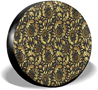 All agree Universal Spare Tire Cover Golden Flower Floral Car RV Camper Wheel Tyre Covers Protectors for Trailer, SUV, Travel, Truck, Boat, Motorhome, Vehicle, Auto Accessories, Waterproof