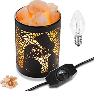 Himalayan Salt Lamps, OxyLED Natural Pink Salt Night Lights with Two Bulbs, Crystal Rock Salt Light in Metal Basket Lampshade with Dimmer Switch(3.15 x 4.33