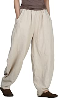 Women's Cotton Linen Pants Cropped Wide Leg Baggy Tapered Capri Elastic Waist Ankle Trousers with Pockets