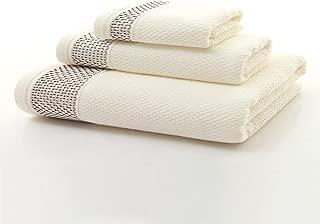 Ivyeer Luxury Long Staple Cotton Fluffy 3 Piece Towel Set,Hotel/Spa Quality Honeycomb Jacquard,Beige