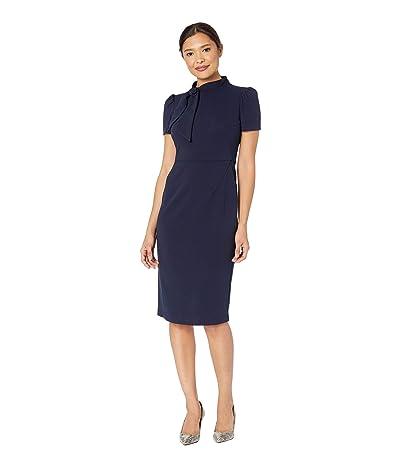 Maggy London Scuba Crepe Short Sleeve Sheath Dress with Neck Tie Detail (Navy) Women