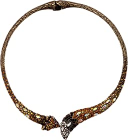 Betsey Johnson Topaz and Gold Hinge Collar Necklace
