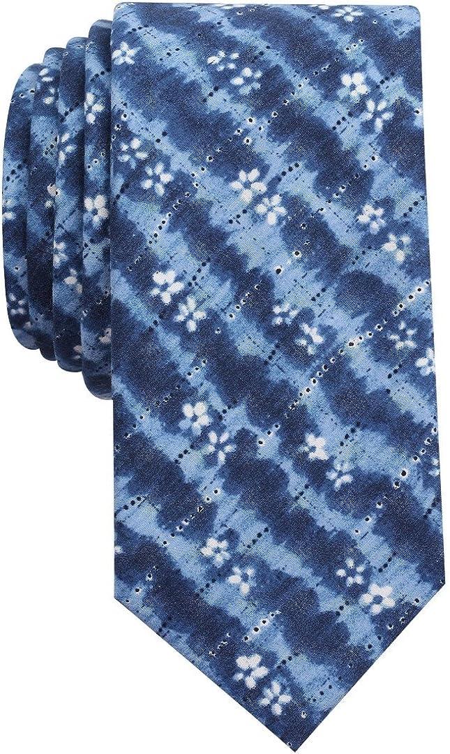 Bar III Men's Indigo Tie Dye Print Skinny Tie