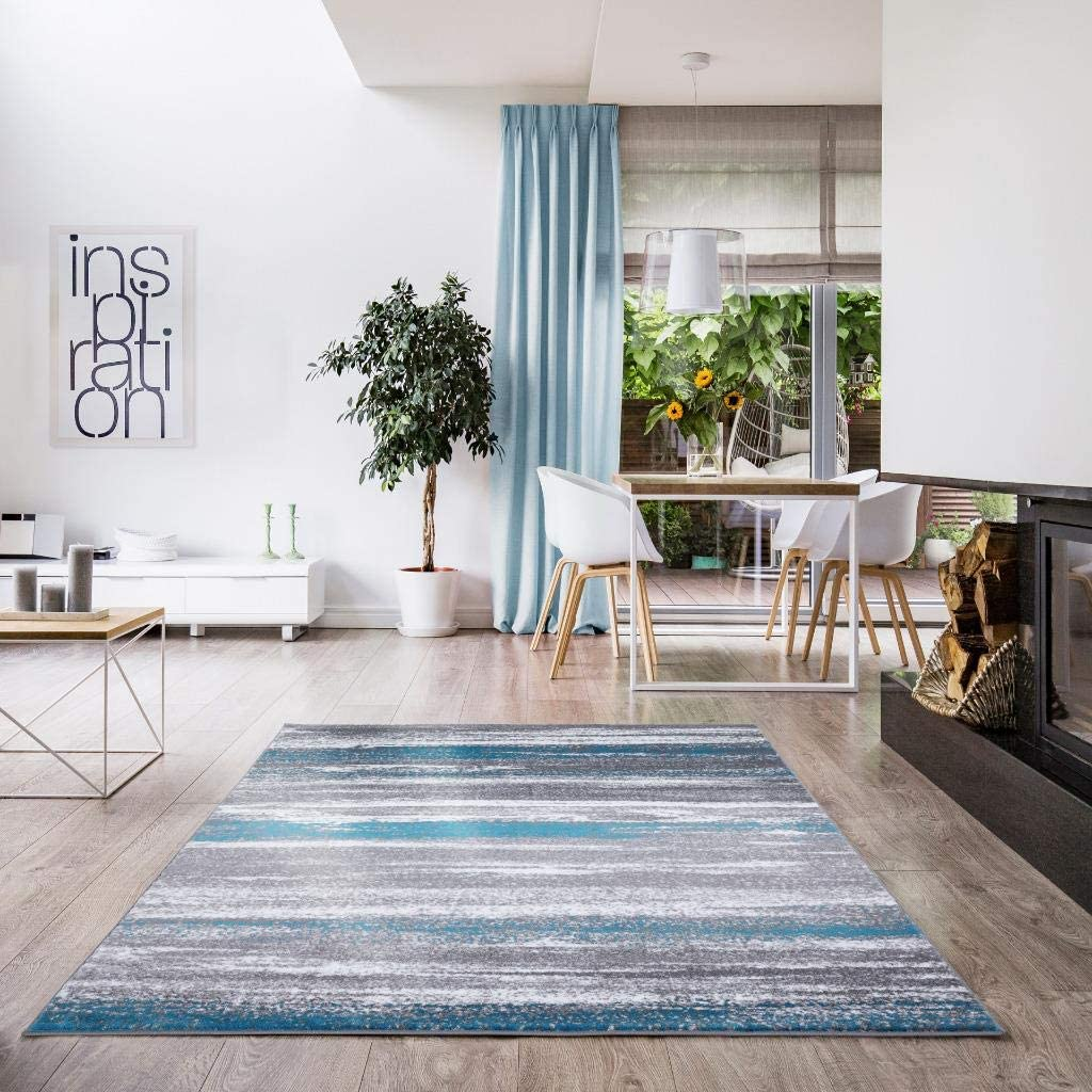 Luxe Weavers Victoria Abstract Turquoise 9085 Large discharge sale Rug 8x10 Area New Shipping Free