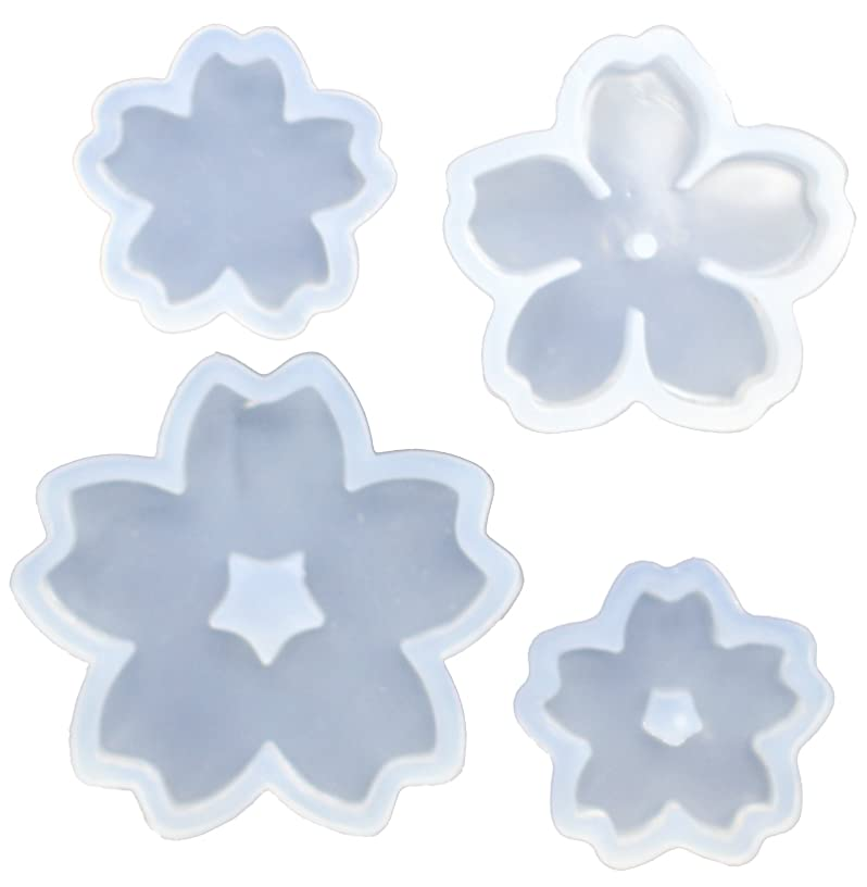 Funshowcase Cute Sakura Cherry Flower Silicone Mold Trays for Crafting, Resin Epoxy, Soap, Jewelry Making 4 in Set Bundle
