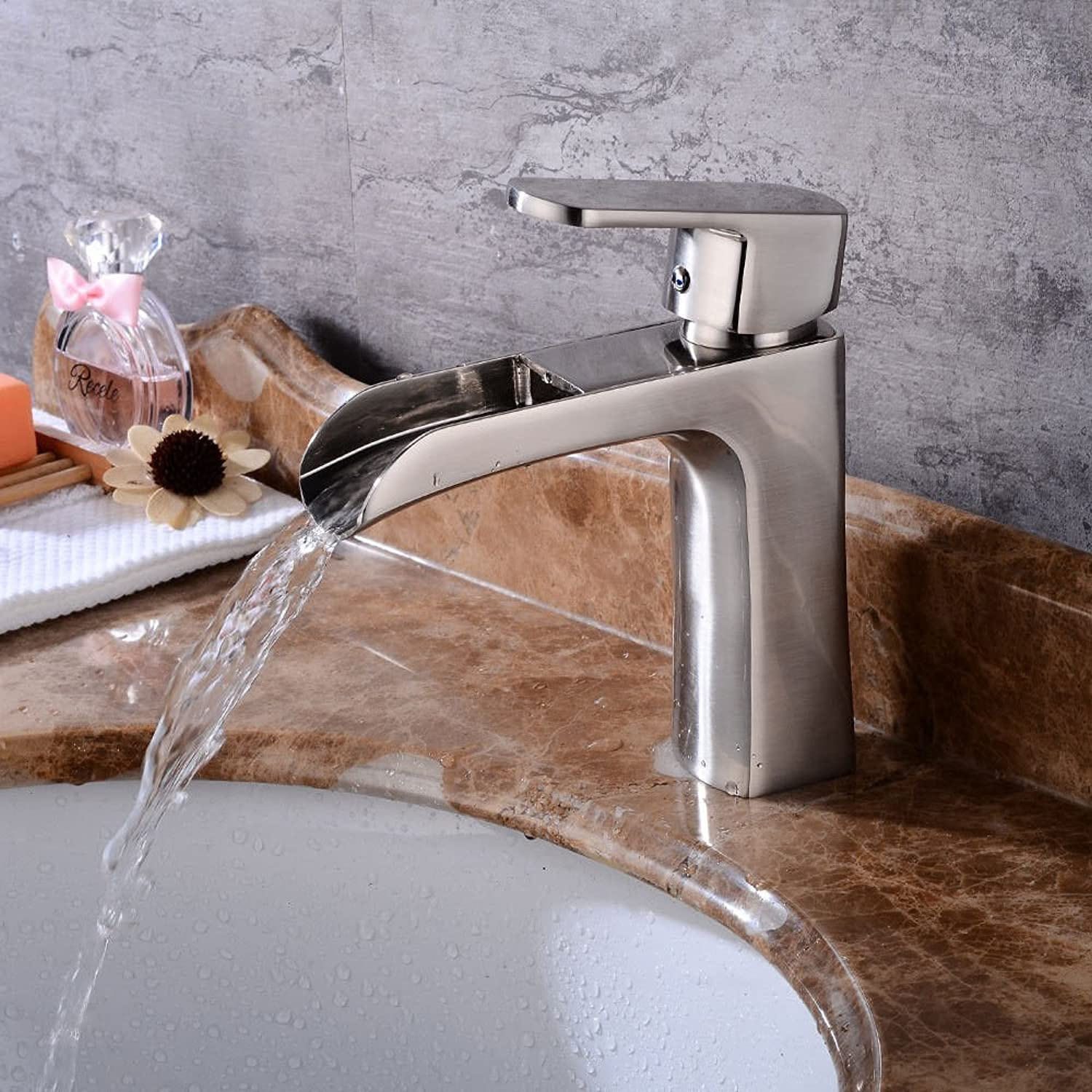 Lalaky Taps Faucet Kitchen Mixer Sink Waterfall Bathroom Mixer Basin Mixer Tap for Kitchen Bathroom and Washroom Brushed Hot and Cold Retro Waterfall Single Hole