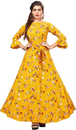 Ethnic 4 You Women Long Fit Flare Sttiched Gown Yellow GW151