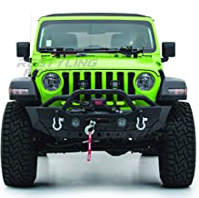 Restyling Factory-Rock Crawler Front Bumper With Fog Lights Hole & Built In Winch Plate Black Textured for 18-19 Jeep Wrangler JL (Black)