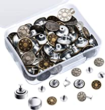 Zhehao 60 Sets Jeans Buttons Metal Snap Buttons Replacement Buttons with Rivet and Metal Base in Plastic Storage Box, Bronze and Silver