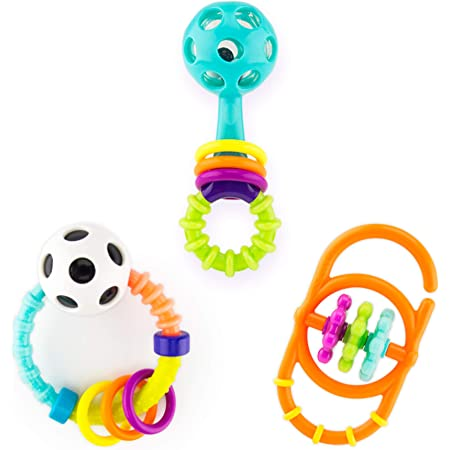 Age 0 Sassy Drive n Drool Keys with Rattle Key Chain and 3 Teether Keys Months