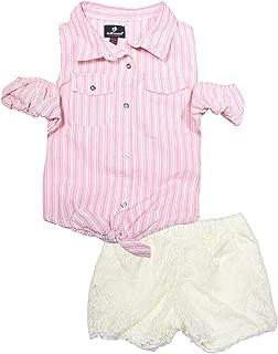 Dollhouse - Conjunto de pantalón Corto de Encaje para niñas (2 Piezas, con Parte Superior de Mezclilla)