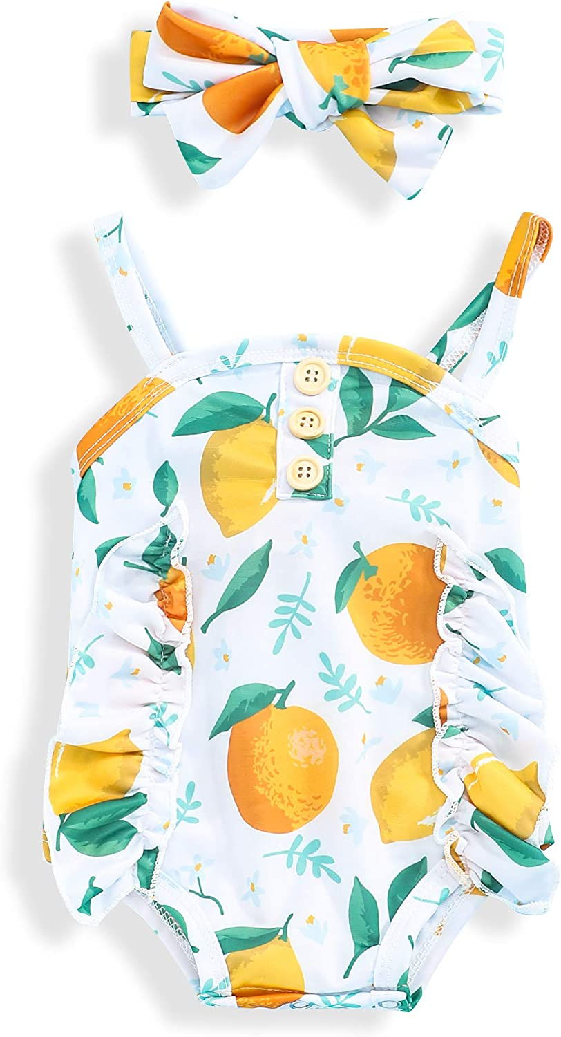 Xuuly Baby Girl Clothes Fruit Print Sling Romper Bodysuit with Headband Two Piece Infant Baby Girl Summer Outfits