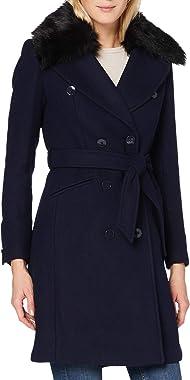 Morgan Manteau Long Col Fourrure Ceinturé Gchic Wool Blend Coat Femme