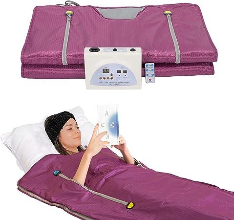SurmountWay Sauna Blanket, Professional Body Shaper Sauna Slimming Blanket Detox Therapy Machine Fitness(Zipper Type,Purple)