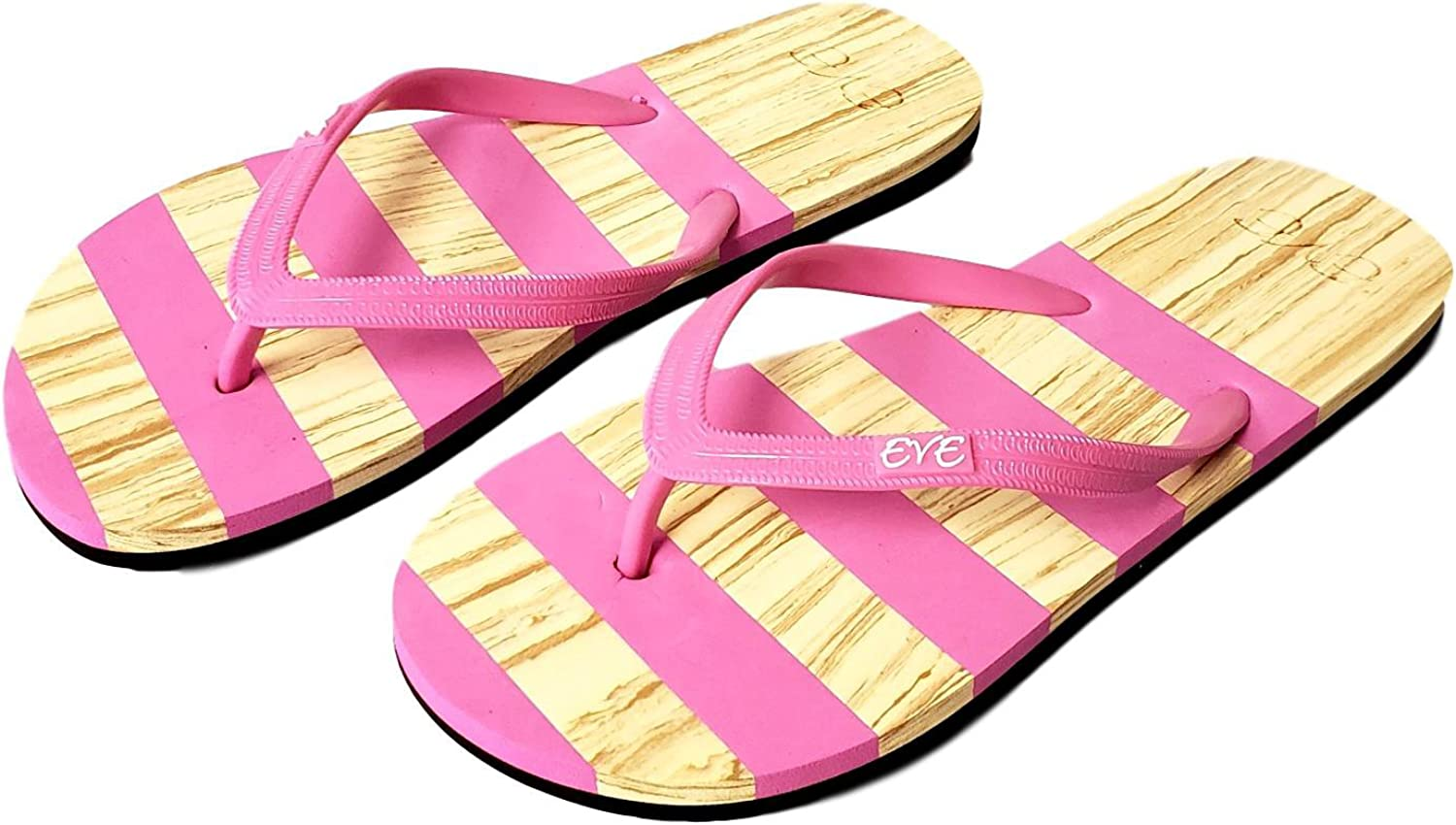 101 BEACH Comfortable Wood Look with Stripes Summer Flip Flops for Women