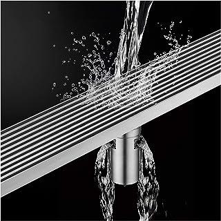 XXIOJUN デオドラントフロアドレン、 フロアシャワー排水インサート 分解しやすい お手入れが簡単、 大変位 防臭・逆戻り防止 目詰まり防止、 30〜120cm (Color : Silver, Size : 110x6.8cm)