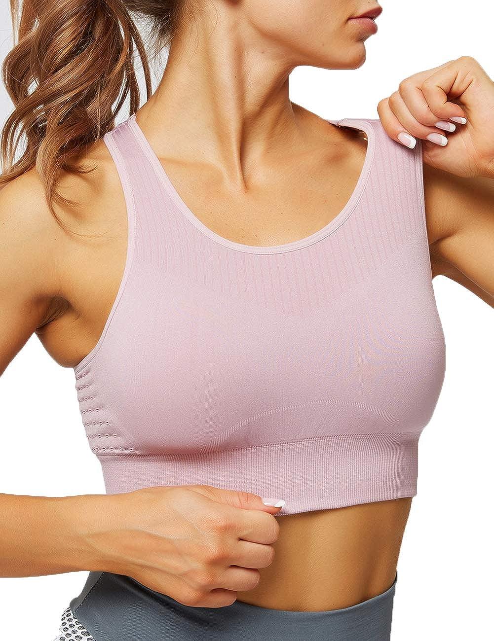 Huret Medium Impact Seamless Sports Bra for Women Plus Workout Yoga Padded Bra