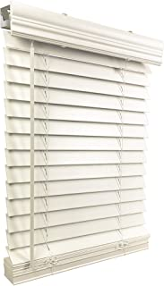 "US Window And Floor 2"" Faux Wood 16.5"" W x 48"" H, Inside Mount Cordless Blinds, 16.5 x 48, White"