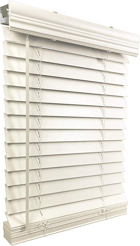 US Window And Floor 2 Faux Wood 35 W X 60 H Inside Mount Cordless Blinds 35 X 60 White