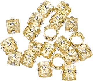 Qlychee 20Pcs Hair Rings Beads Cuffs Rhinestone for Dreadlock Braiding Decoration DIY