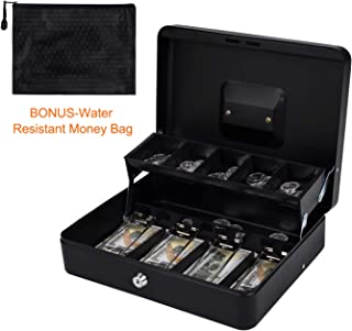 Cash Box with Free Water-Resistant Money Bag | Money Box | Money Lock Box | Portable Cash Register | Money Organizer | Five Partitions for Different Coins | Easy and Quick to Handle Transactions