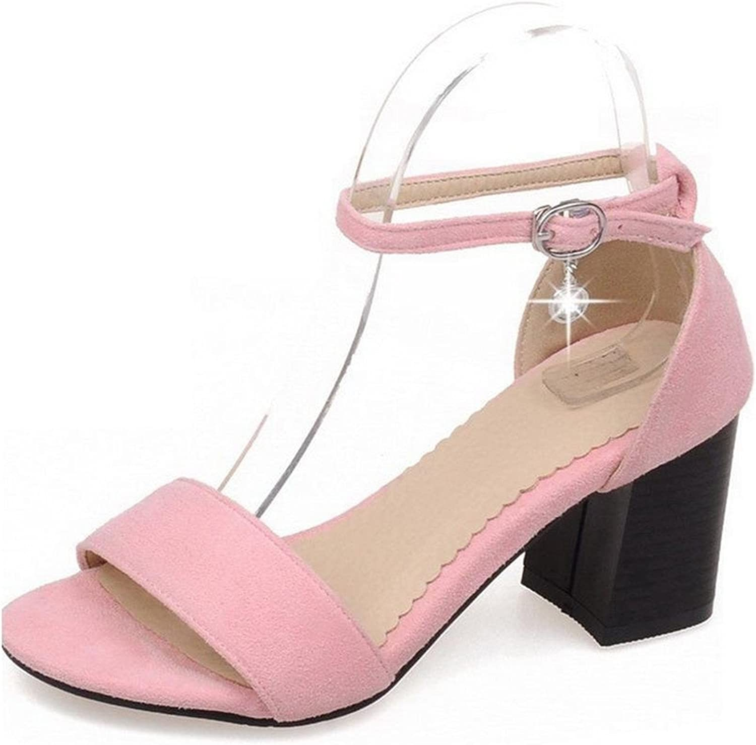 Ompson Women's Buckle High Heels Frosted Solid Open Toe Heeled-Sandals