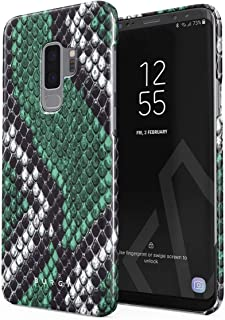 BURGA Phone Case Compatible with Samsung Galaxy S9 Plus Emerald Cobra Savage Green Snake Skin Cute for Women Thin Design Durable Hard Plastic Protective Case