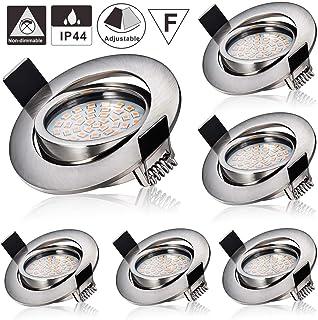 comprar comparacion Focos Empotrables LED, Azhien 5W LED Luz de Techo Blanco Cálido 2700K 400LM 230V Agujero Abierto Tamaño 75 mm No regulable...