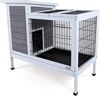 "Petsfit Wood Rabbit Cage with Not Leakage Deeper Removable Tray, 38.2"" L x.."